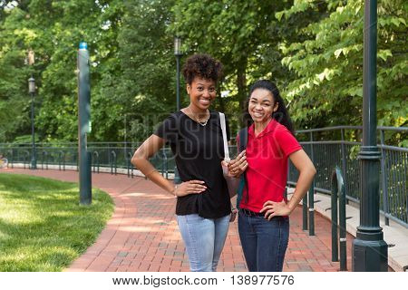 2 african american college girls on campus