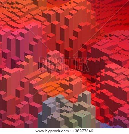 Abstract Background With Cube Decoration. Vector Illustration. Red, Orange Colors.