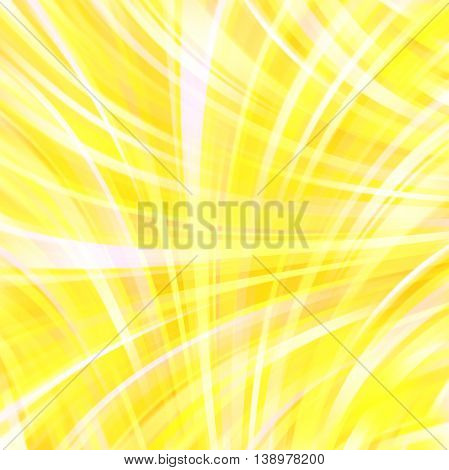 Smooth Light Lines Background. Yellow, White Colors. Vector Illustration.