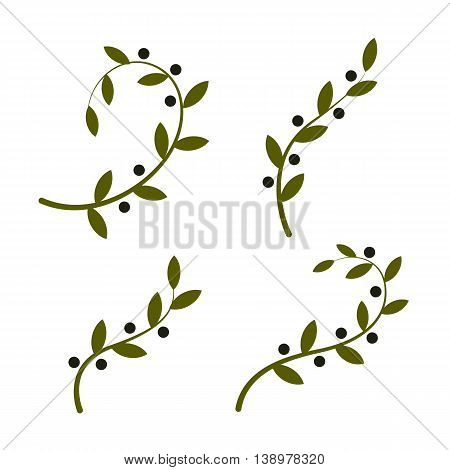 Isolated olive branch vector logo set. Oil logotypes collection. Natural healthy products icon.International peace day symbol.