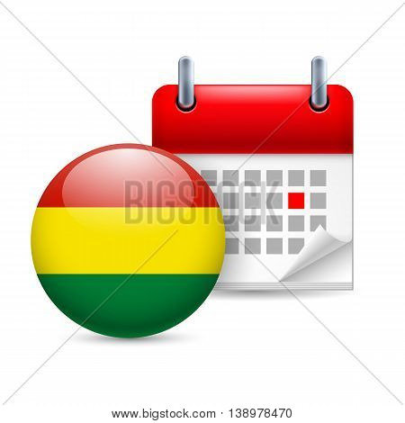 Calendar and round Bolivian flag icon. National holiday in Bolivia