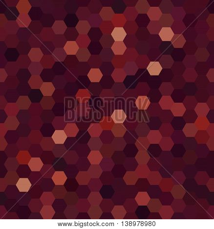 Vector Background With Hexagons. Can Be Used For Printing Onto Fabric And Paper Or Decoration. Brown