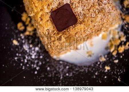 Dessert Napoleon classic french sweets chocolate sugar