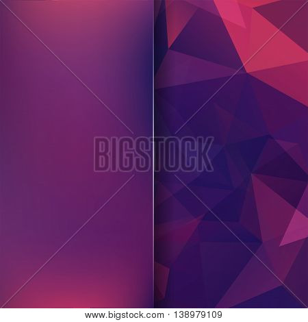 Background Of Geometric Shapes. Blur Banner With Matt Glass. Purple Mosaic Pattern. Vector Illustrat