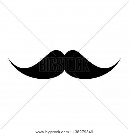 Hipster male mustache , isolated flat icon with black and white colors.