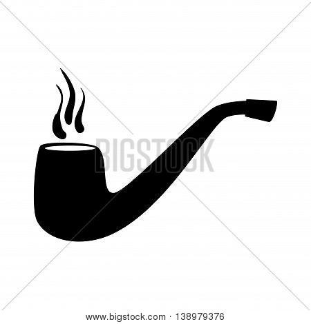 tobacco pipe vintage isolated flat icon with black and white colors.