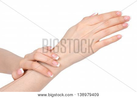 French manicure on white background isolated .
