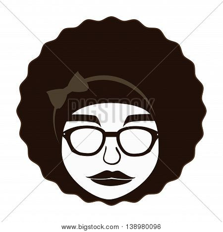Hippie afro woman , isolated flat icon with black and white colors.