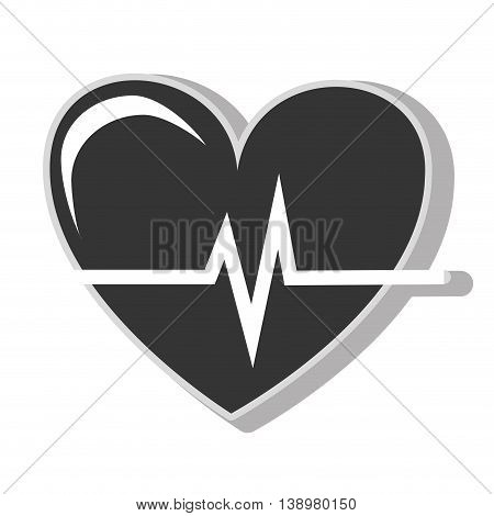 Heart waves cardiology , isolated flat icon with black and white colors.