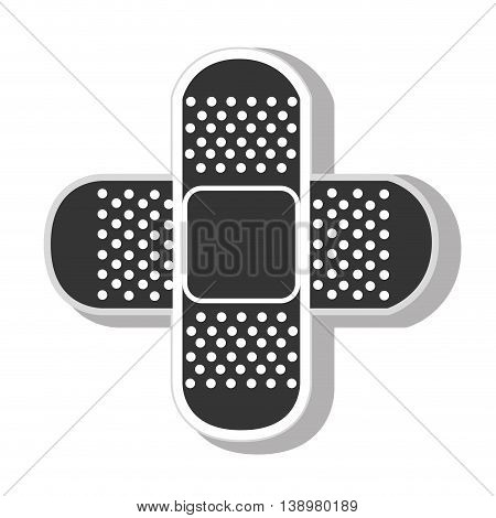 medical bandage aid , isolated flat icon with black and white colors.