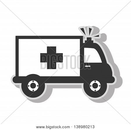 Medical ambulance emergency , isolated flat icon with black and white colors.