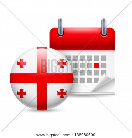 Calendar and round Georgian flag icon. National holiday in Georgia