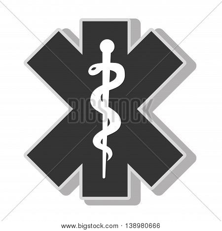 medical caduceus symbol , isolated flat icon with black and white colors.
