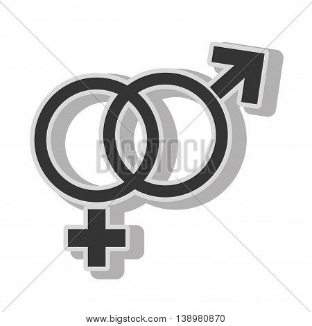 Male female gender symbol , isolated flat icon with black and white colors.