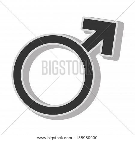 man gender sign , isolated flat icon with black and white colors.