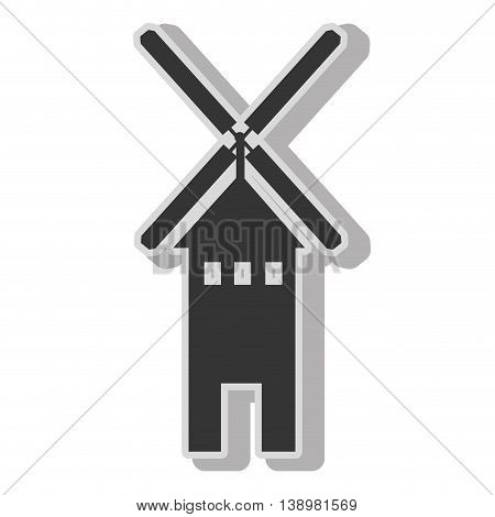 Windmill farm eolic , isolated flat icon with black and white colors.