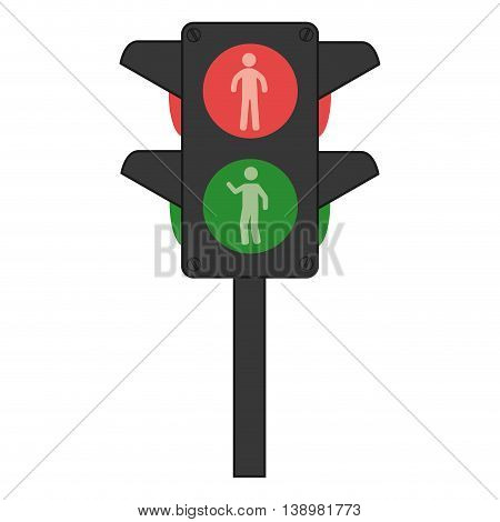 traffic lights semaphore black and white colors isolated flat icon