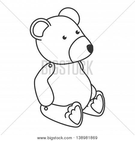 teddy bear kid , black and white isolated flat icon