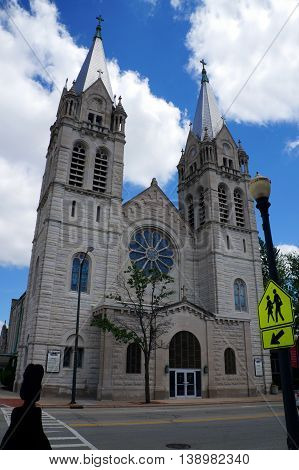 JOLIET, ILLINOIS / UNITED STATES - JUNE 1, 2015: The historic Saint Joseph's Roman Catholic Church offers worship services in downtown Joliet.
