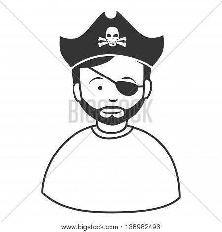 Pirate male hat , isolated flat icon cartoon