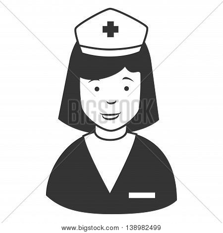 Nurse profile cap , isolated flat icon cartoon