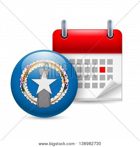 Calendar and round flag icon. National holiday in Northern Mariana Islands
