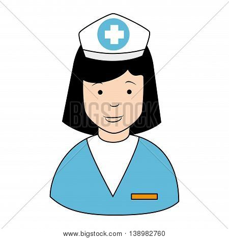 Nurse profile cap , isolated flat icon design
