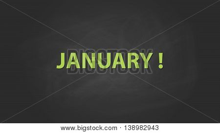 january month text written on the blackboard with chalk board effect vector graphic illustration
