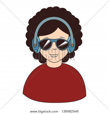 Afro hair headphones sunglasses , isolated flat icon design