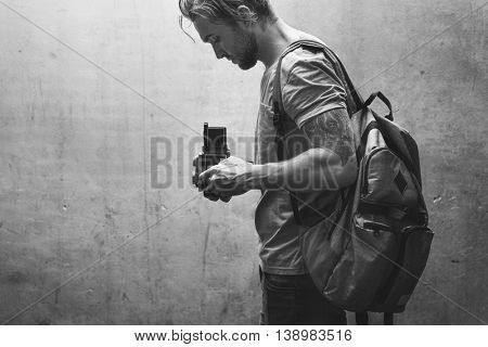 Vintage Camera Photographer Focus Shooting Concept