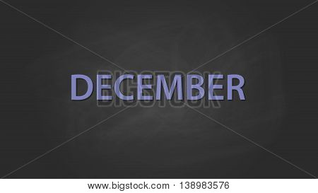 december month text written on the blackboard with chalk board effect vector graphic illustration