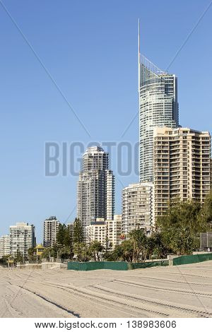 GOLD COAST, AUSTRALIA - JUNE 30 2016: Gold Coast City, Surfers Paradise cityscape with Q1 building and famous beach
