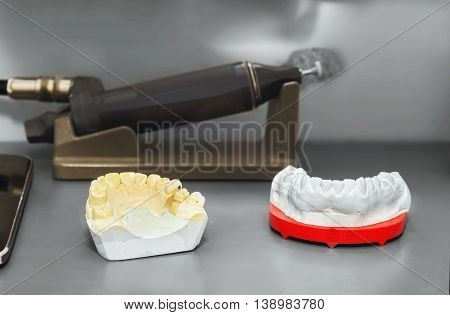 Technical shots of model on a dental prothsetic laboratory