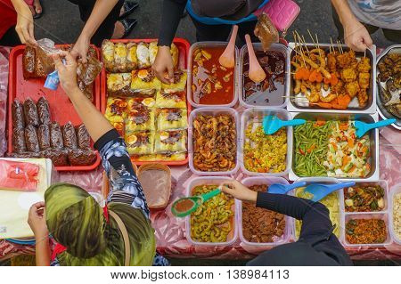 Kota Kinabalu,Sabah,Malaysia-March 14,2016:Street food or traditional Malay dishes in Kota Kinabalu,Sabah.Kota Kinabalu is one of the most vibrant and popular food capitals in the borneo.