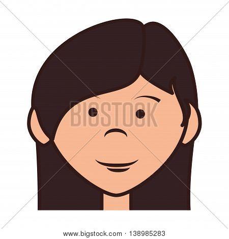 teenager girl cartoon, isolated flat icon design