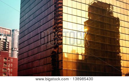Building Exterior City Urban Office Reflection Concept