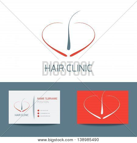 Medical business card logo template with hair follicle icon. Vector hair bulb graphic design for hair clinics and medical centers. Vector illustration.