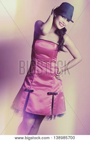 Beautiful woman wearing pink dress