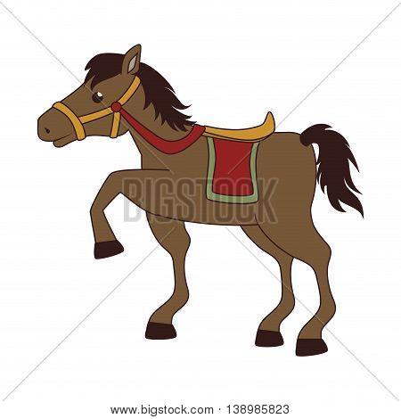 Horse saddle cartoon, isolated flat icon cartoon design