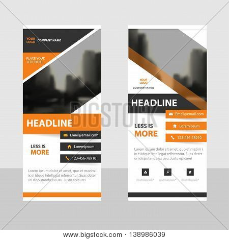 Orange black triangle abstract Business Roll Up Banner flat design template Abstract Geometric banner template Vector illustration set abstract presentation brochure flyer template vertical template vector