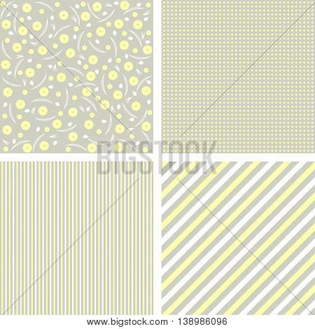Collection of 4 backgrounds in delicate colors. Vector illustration