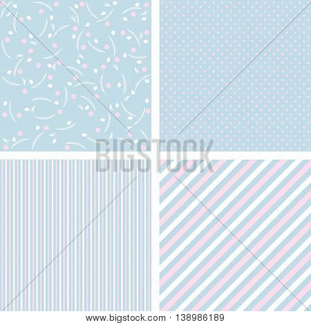 set of cute baby patterns in blue tones