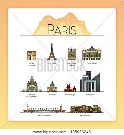 Vector line art Paris, France, travel landmarks and architecture icon set. The most popular tourist destinations, streets, cathedrals, buildings and symbols of the city