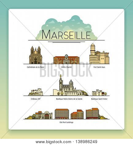 Vector line art Marseille, France, travel landmarks and architecture icon set. The most popular tourist destinations, streets, cathedrals, buildings, symbols of the city