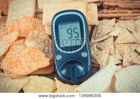 Vintage Photo, Glucometer And Heap Of Unhealthy Food, Concept Of Diabetes