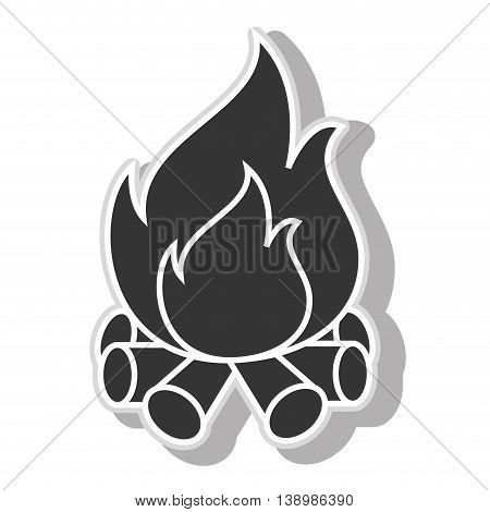 Wood fire flammes , isolated black and white flat icon design