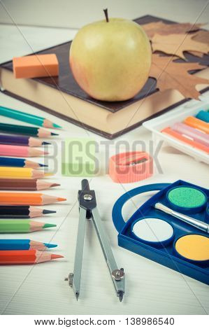 Vintage Photo, Book, School Accessories And Autumnal Leaves On White Boards, Back To School