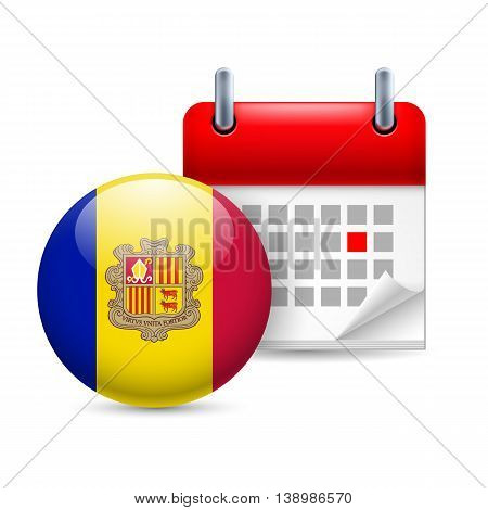 Calendar and round Andorran flag icon. National holiday in Andorra