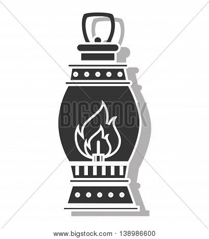 lantern torch , isolated black and white flat icon design