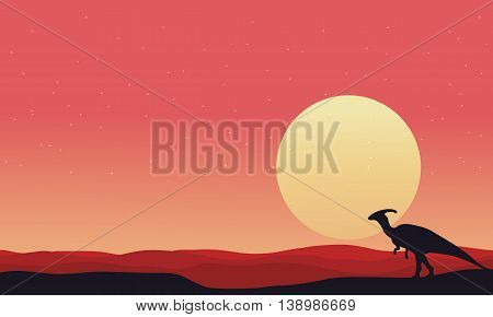 At afternoon Parasaurolophus landscape silhouettes vector illustration